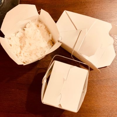 coconut rice in take away container