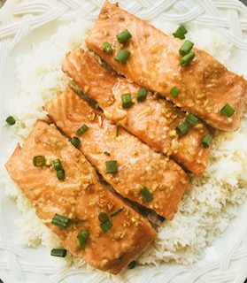 honey soy salmon recipe over rice