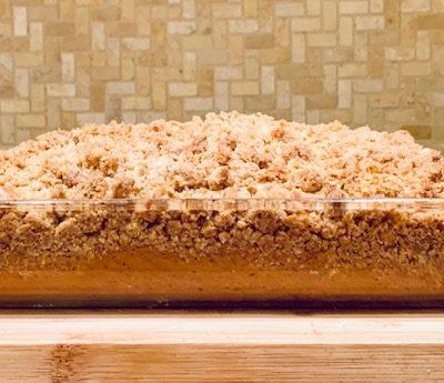 crumb coffee cake in pan