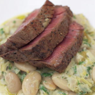 filet steak over creamy leeks recipe