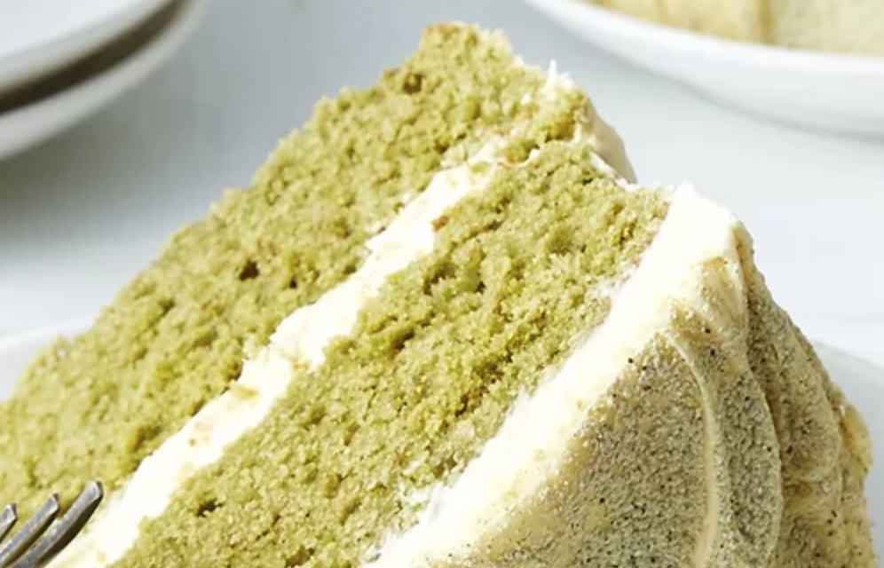 matcha cake with buttercream icing