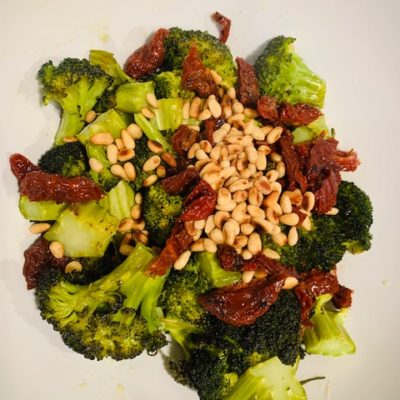 roasted broccoli with sun dried tomatoes, pine nuts recipe