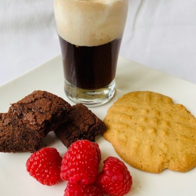 root beet float, brownies, peanut butter cookie