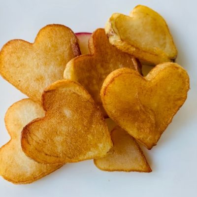 heart shaped fried potatoes