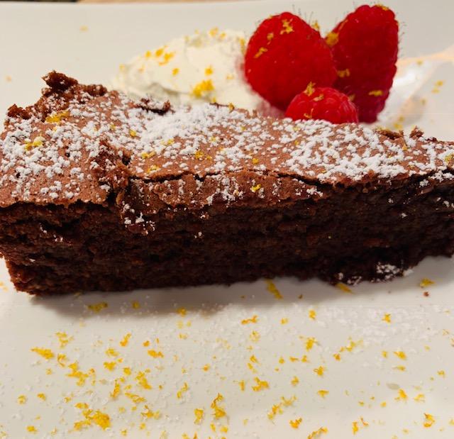 torta caprese – chocolate almond tart with orange whipped cream