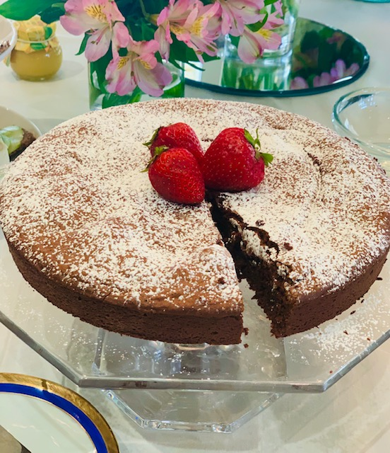 torta caprese – chocolate almond tart with orange whipped cream