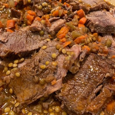 brisket of beef with lentils