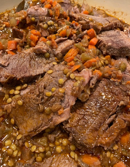 flavorful and fabulous brisket with lentils
