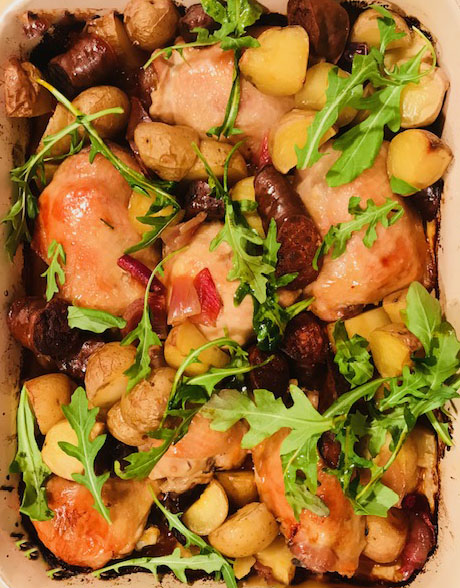 one pan chicken with chorizo and potatoes