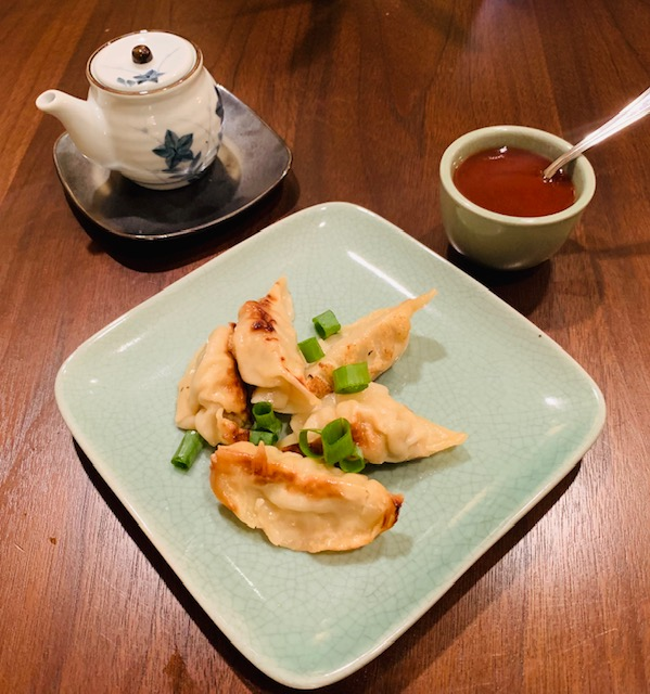 Gyoza with dipping sauces