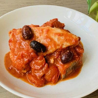 fish with tomatoes and olives