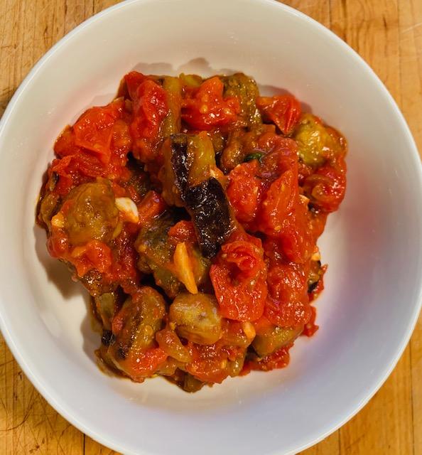 Orzo with roasted eggplant