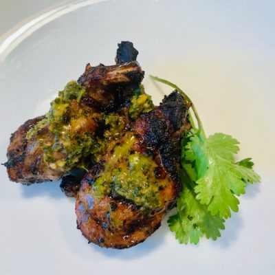 lamb with cilantro and honey