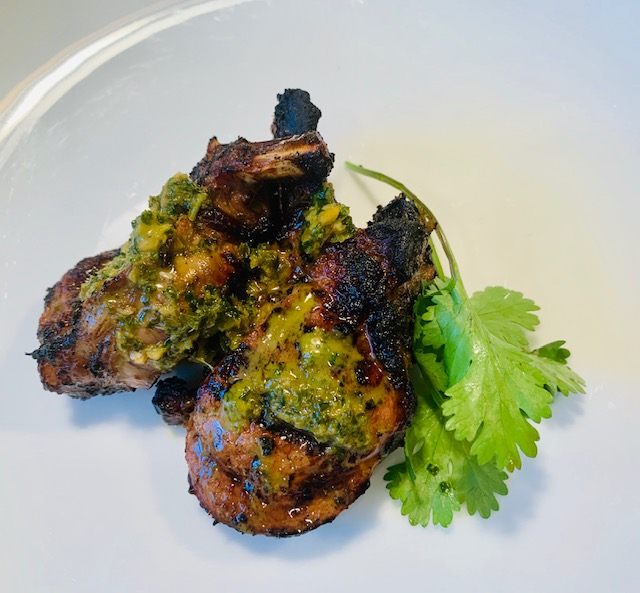 Lamb with cilantro, mint and honey