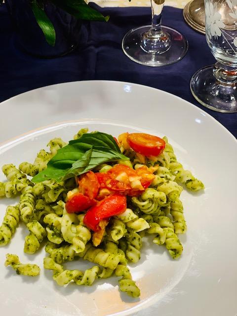 pasta with pesto & mascarpone