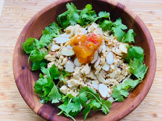 Curried mango and ginger chicken salad