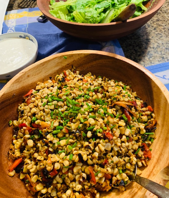 Roasted corn and pepper salad with fresh chives