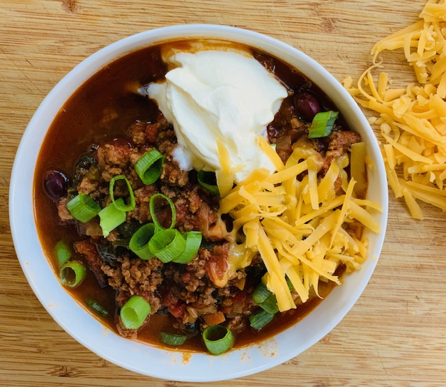 Not too spicy chili with red beans