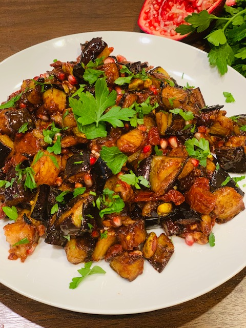 Delicious eggplant with sun-dried tomatoes & pomegranate