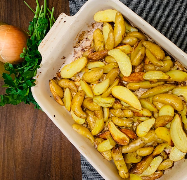 Saffron roast potatoes