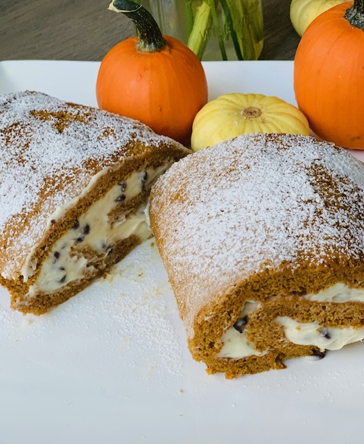 Pumpkin roulade with mascarpone and chocolate chip cream