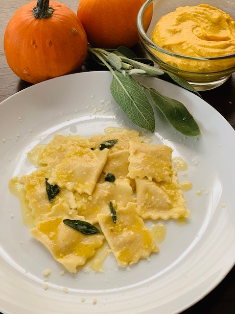 Pumpkin and ricotta filled ravioli (by hand) with butter and sage