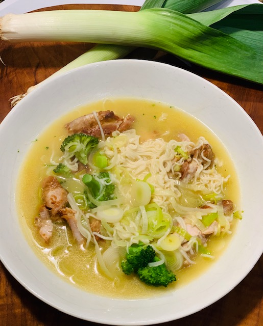 miso chicken with leeks, broccoli and noodles in broth