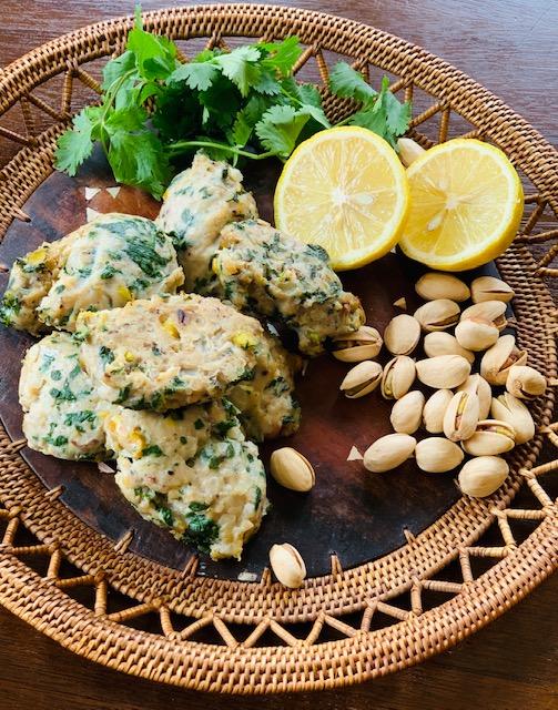 Chicken patties with pistachios, cumin, coriander and sumac