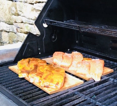grilled salmon on cedar boards