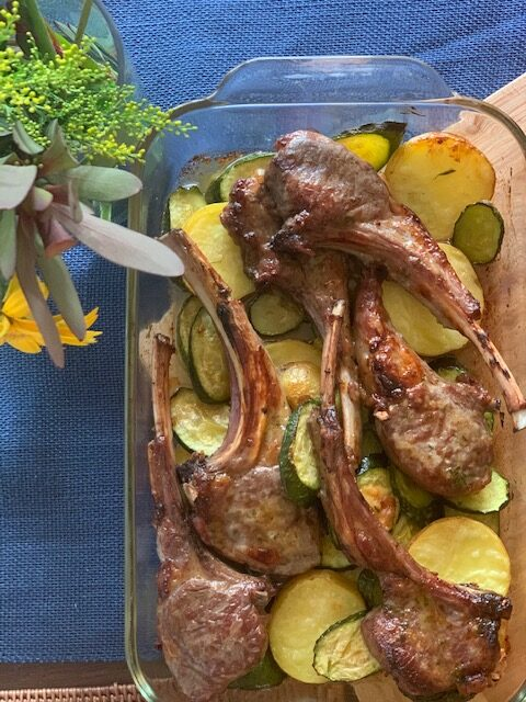 garlic lamb cutlets with mustard mint sauce