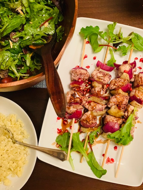grilled sumac spiced chicken skewers with pomegranate glaze