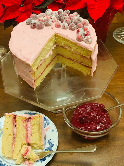brown sugar layer cake with cranberry buttercream