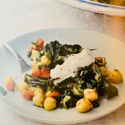 chickpeas with swiss chard and yogurt