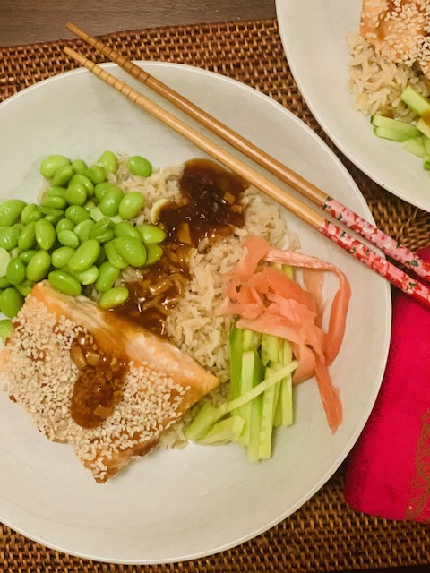 sesame crusted salmon rice bowls