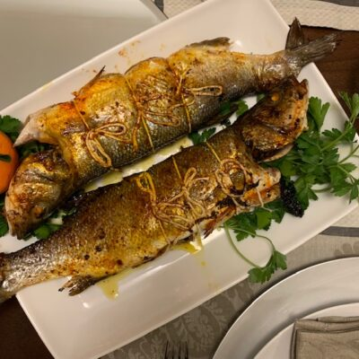 stuffed branzino with dried peaches, cherries and pistachios