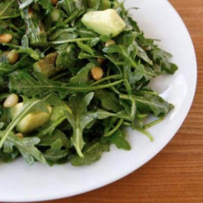arugula, asparagus, basil salad