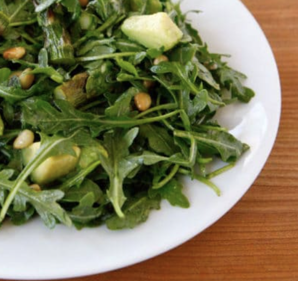 arugula, asparagus, pinenuts and fresh basil salad