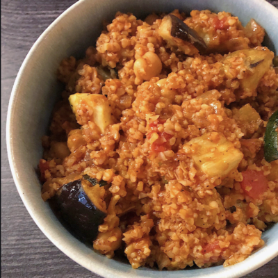 bulgur wheat with eggplants, tomatoes