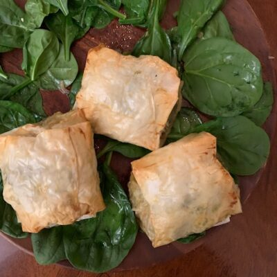 chicken with spinach & herbs in phyllo bundles
