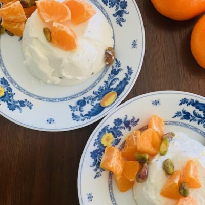 panna cotta with oranges and pistachios