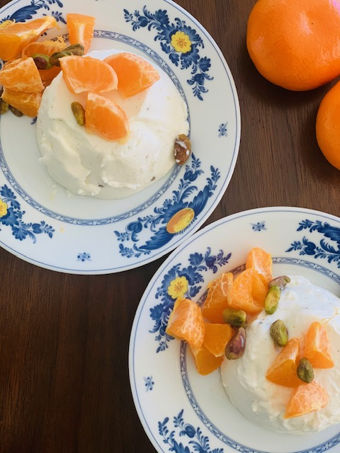 Panna cotta with fresh oranges & pistachios