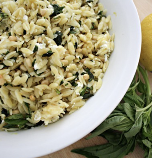 Orzo with olive oil and fresh basil
