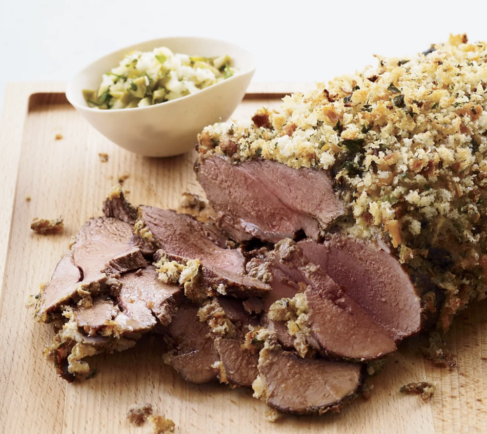 Lamb with herby breadcrumbs and mustard