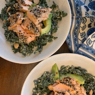 salmon with kale and tahini dressing